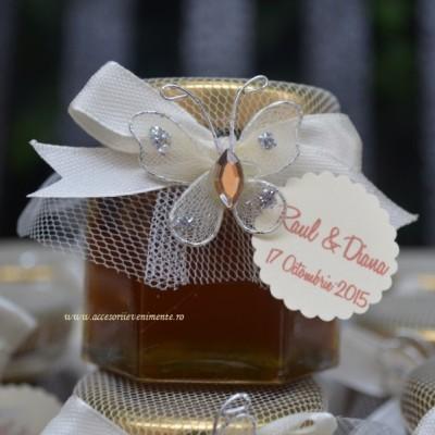 Marturii nunta borcanase miere-Marturii Borcan Miere Fluture