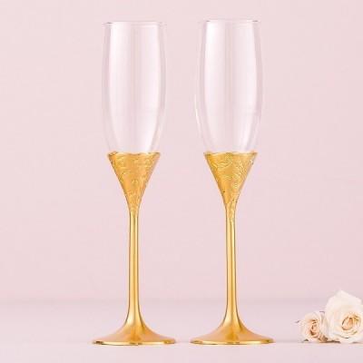 Pahare de nunta-Pahare sampanie Gold Romance