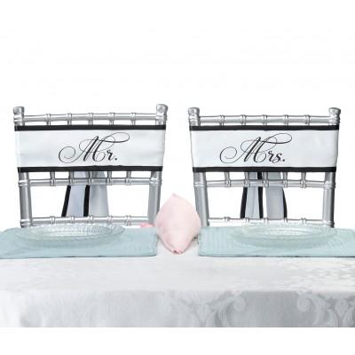 Diverse accesorii pentru nunta-Esarfe Scaune Miri Mr & Mrs Satin