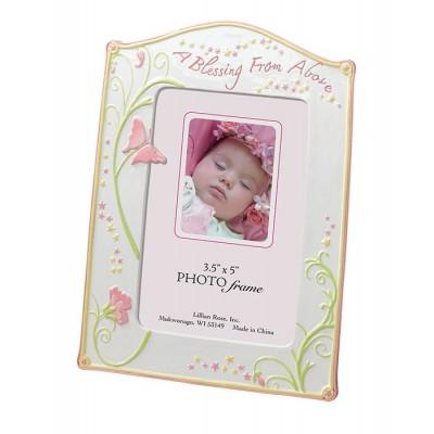 Cadouri botez si nou nascuti-Rama foto Fluturasi roz