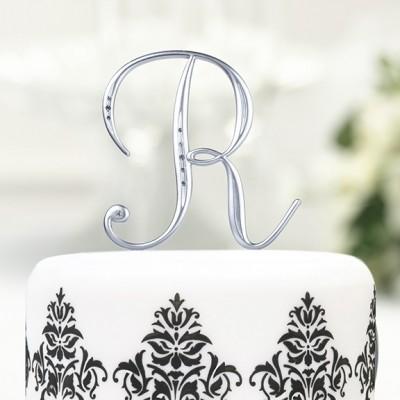 Figurine tort-Monograma Tort Argintata cu Strasuri