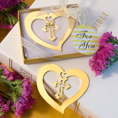 Semn De Carte Auriu Cruce In Inima