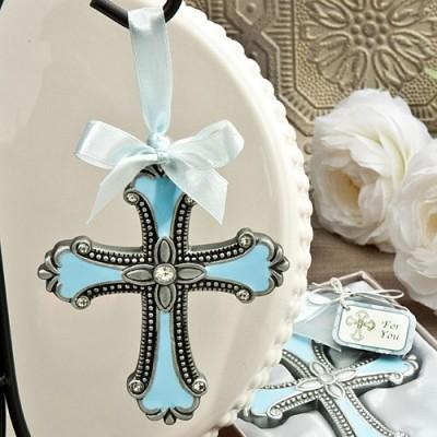 Marturii Fashioncraft A-Z-Ornament cruciulita email bleu