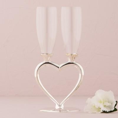 Pahare de nunta-Pahare sampanie inima unita