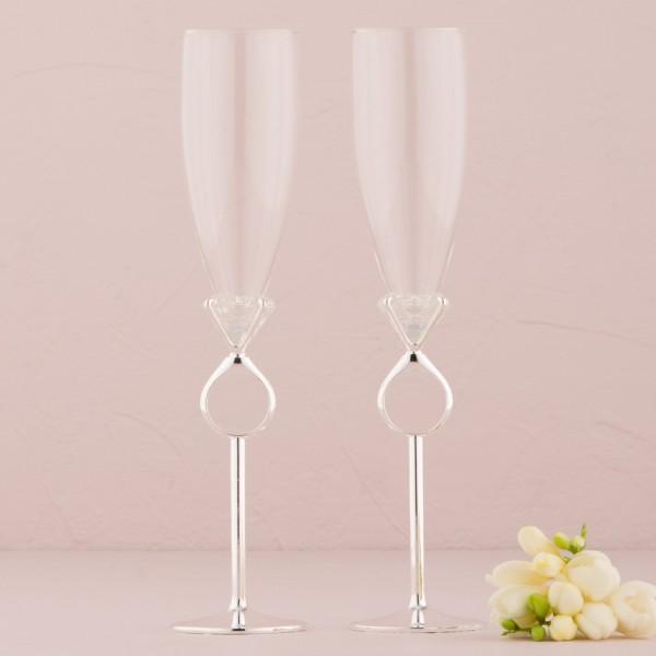 Pahare de nunta-Pahare Sampanie Inel Diamant