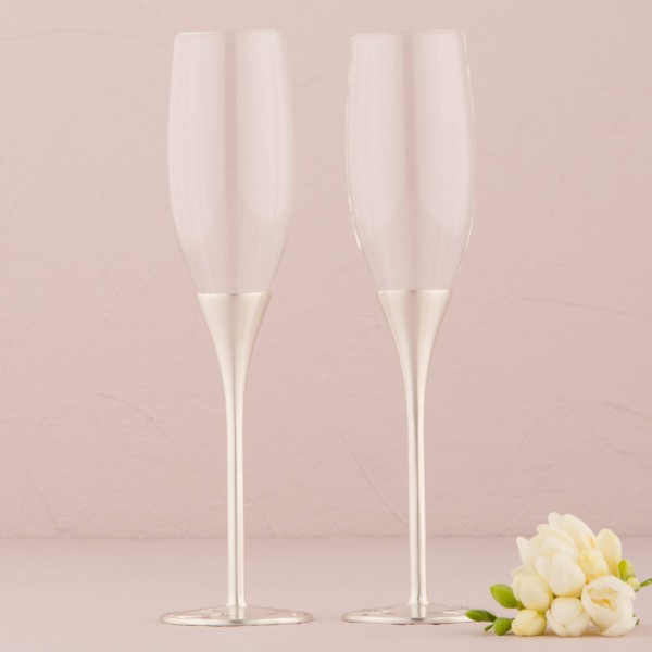 Pahare de nunta-Pahare sampanie Venetiene argintii