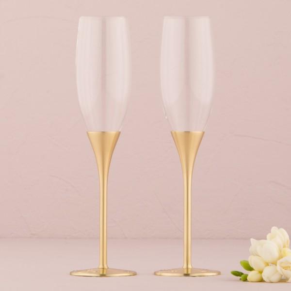 Pahare de nunta-Pahare sampanie Venetiene Aurii