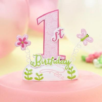 Figurina tort Prima Aniversare roz